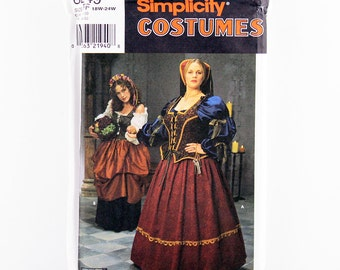 Simplicity Pattern 8249 Renaissance Gown, Maiden Dress, Size 18-24W, Halloween, Cosplay, Thespian Play, Medieval Renaissance Festival