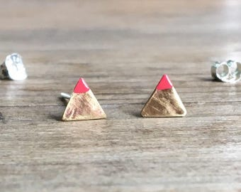Dipped Triangle Studs - Pink and Gold - Tiny Triangle Earrings - Brass and Sterling  Silver - Everyday Jewelry