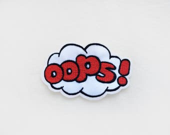 1x OOPS tag PATCH - bubble cloud cartoon comic book pop art  backpack red white - Iron On Embroidered Applique