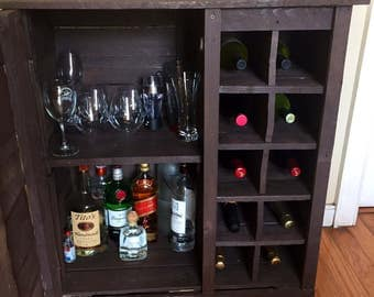 Rustic Barn Wood Liquor Cabinet