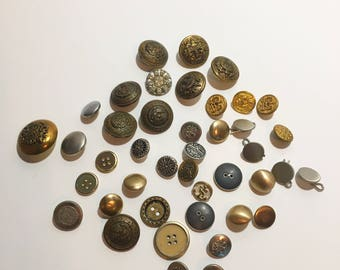 Metal Buttons, Antique Buttons, Buttons, Sewing Supplies, Button Crafts, Unqiue Buttons