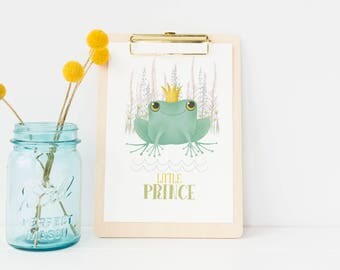 Frog Prince, Custom Name Sign, Little Prince, Baby Shower, Nursery Wall Art, Frog Gift, Kids Prints, Name Print, Baby Shower Gifts, Frogs