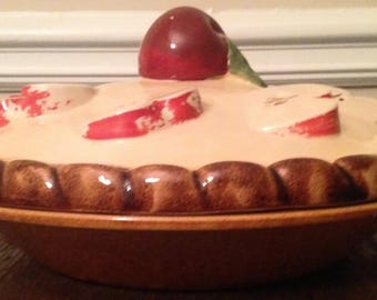 Vintage Over and Back Red Apple Pie Crust Plate & Cover Made in Portugal