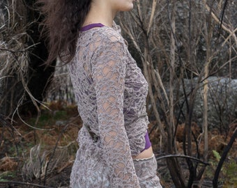 lace crossover cardigan with ruffles