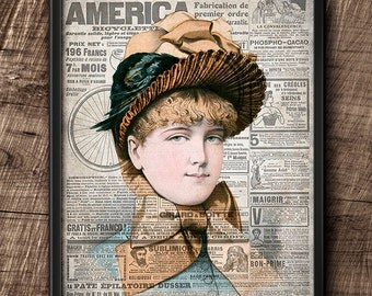 19th Century Fashion · 8x 10 · Vintage · Digital File · Art ·  Collage · Wall · Printable · Instant Download #10