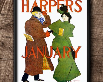 Harpers magazine cover · 1890s · Instant Download · Fashion · Vintage · Printable #124