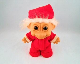 "Santa Troll Doll Russ Red Christmas Pajama Back Flap Suit 8"""