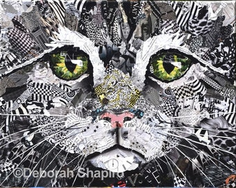 Krazy Kitty Collage Giclee Print of a Cat's Face