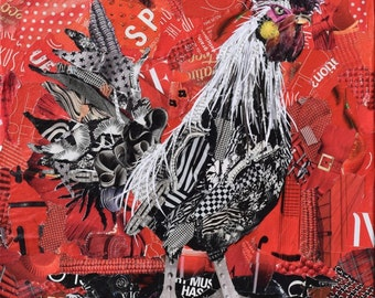 Rooster Collage Giclee Fine Art Print