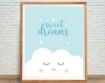 Sweet Dreams Printable, Blue Baby Art, Dreams Nursery Art, Sweet Dreams Nursery, Blue Nursery Print, Baby Shower Gift, Nursery Wall Art