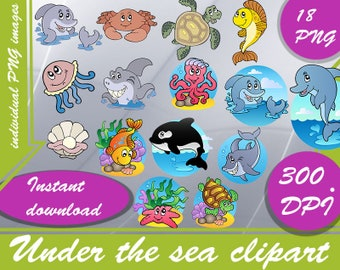Under the sea clipart - Digital 300 DPI PNG Images,fish ,dolphin ,ocean animals ,fish clipart ,marine life,fish png,dolphin clipart