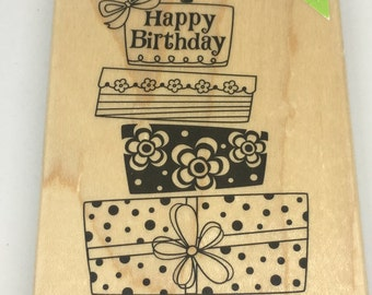 Rubber Stamp - Happy Birthday Stamp - Birthday Cake Stamp - Scrapbooking - Card Making Supplies - Wood Mount Stamp