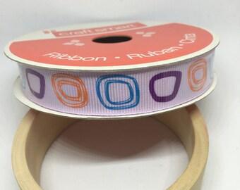 Lavendar Ribbon / Polyester Ribbon / Fabric Ribbon / Sewing Ribbon / Scrapbooking / Card Making / Multi-color squares