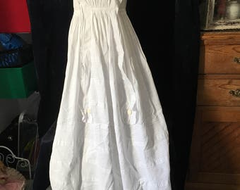 1850's/1860's Antique Chritening Gown in excellent condition. Delicious lace and pintucks