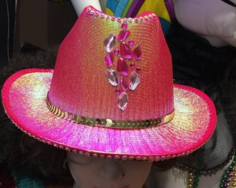 Pink / gold bling cowgirl festival hat