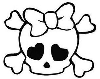 cute girly skull and crossbones with bow