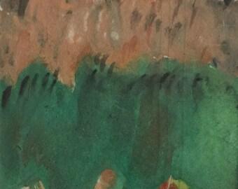 ACEO contemporary landscape original gouache painting