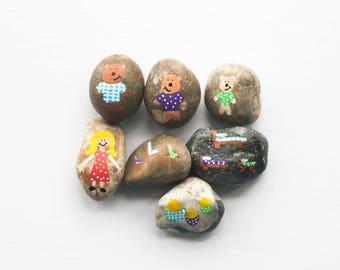 Goldilocks Story Stones, goldilocks and the 3 bears, story telling set, birthday gift, unique gift, children's gift, handpainted gift