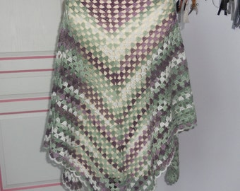 Feather weight granny shawl