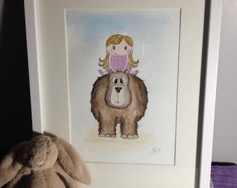 Nursery Decor Wall Art Girl Cute Animal Bear Original Painting Framed