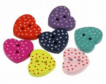Lot of 197 Wooden Heart Buttons Mixed Colors