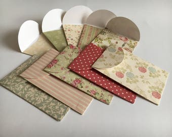 Handmade envelopes, mini envelopes, set of envelopes