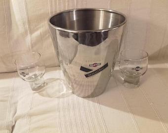 MARTINI ice bucket and two MARTINI glasses