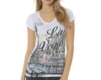 Las Vegas, Women's Las Vegas V-neck tee, Las Vegas T-shirt, Women's Tee, Women's shirt, Las Vegas Sketch T-shirt, Las Vegas Skyline T-shirt.