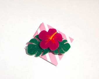 Tropical Hibiscus Flower Brooch - Laser cut acrylic