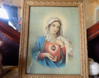 gorgeous Mary sacred  heart picture from 20's in wooden frame
