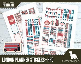 London planner sticker printable | Uk instant download | Happy Planner Classic printables | Britain | British planner | travel planner