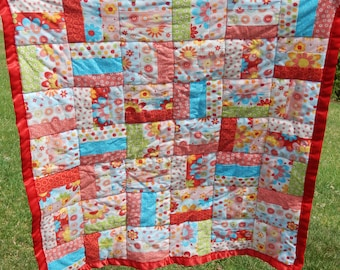 Modern, Brightly Colored Scrappy Crib/lap Quilt!