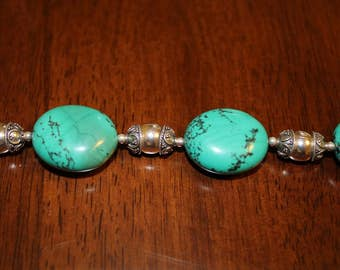 Robin's Egg Blue Large Oval Chunky Turquoise Beaded Bracelet With Bali Silver Bead Caps