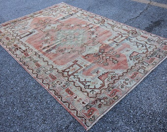 Vintage Tribal Turkish Oushak Rug - 4' x 6'2""
