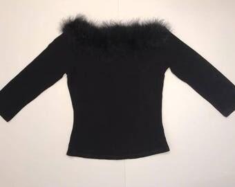 Vintage Feathered Collar Off-Shoulder Top