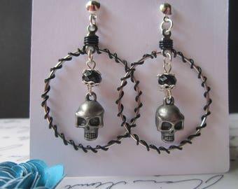 Sugar Skull /Dia de los Muertos Earrings (Hoop/ Wire)