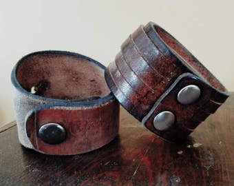 One of a kind leather cuffs made from recycled shoe soles