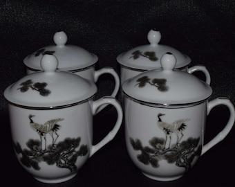 Asian Red-Crowned Crane Lidded Ceramic Mugs