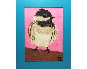 Bird,Original hand made,Nursery Art, Animal Drawings for kids, Fine Art, Wall Decor for the Bedroom,Home Decor, Birthday gift, Baby shower.