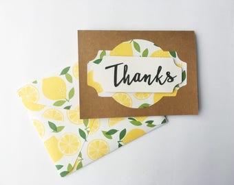 Handmade Thank You Card - Thanks - Lemon - 3D - Cardstock