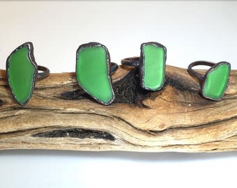 Green Sea Glass Ring | Statement Ring