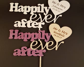 Personalised Wedding Cake Topper mr & mrs wood cake topper love heart