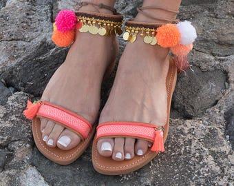 "Handmade Greek Sandals, Ankle strap, Gladiator Sandals, Pom Pom Sandals, Bohemian,""CANDY"""