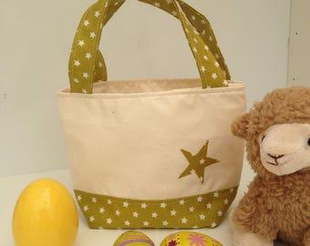 toddler tote bag, green star tote bag