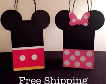 12 Minnie Mouse & Mickey Mouse Party Bags Goodie Loot Totes Sacks