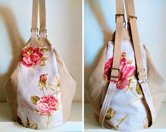 Beige backpack with flower pattern 2 in 1, floral bag, shoulder bag, woman handbag, hobo bag, purse, gift for her