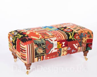 Hand Woven Large Kilim Coffee Table Footstool Bench patchwork sofa armchair