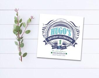 First Birthday Invitation - Printable Birthday Invite - Boy Birthday Invitation Blue - Square Birthday Invitation