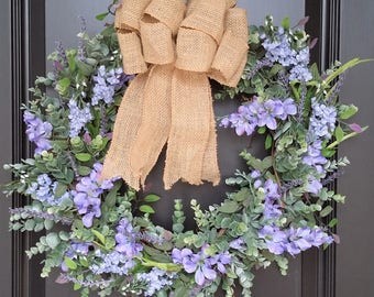Spring Wreaths, Home decor, faux flowers, wreaths with bows, front door wreaths, house warming gift, summer wreaths