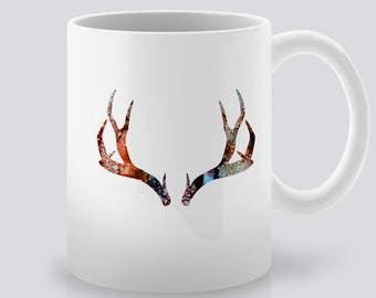 Deer Horns Print Art Ceramic Mug